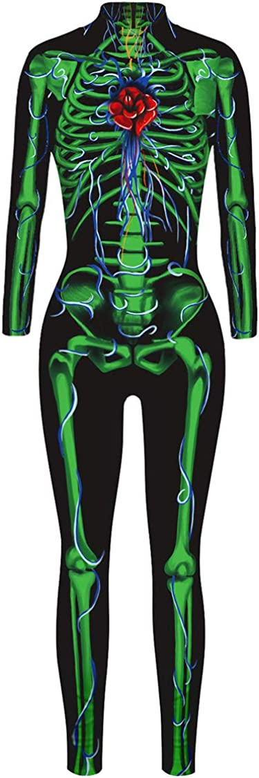 Carprinass Womens Novelty Skeleton Catsuits Jumpsuits for Halloween Party