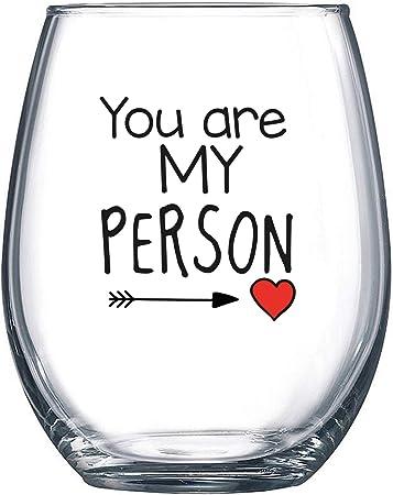 Amazon.com: You Are My Person – Copa de vino sin tallo de 38 ...