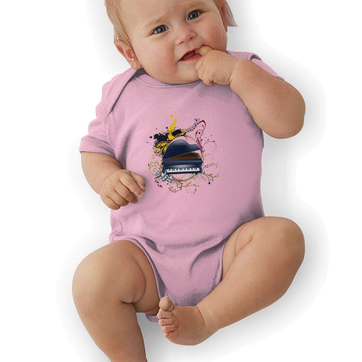 Toddler Baby Boys Bodysuit Short-Sleeve Onesie Piano Life Print Rompers Summer Pajamas
