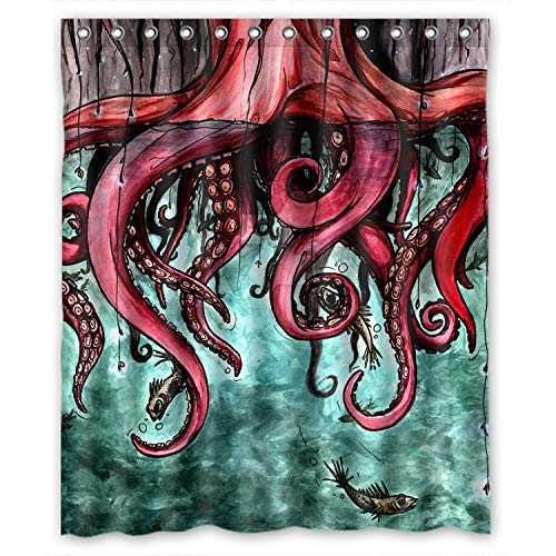 FMSHPON Unique Octopus Abstract Art Waterproof Shower Curtain Bathroom Fabric 60 x 72 Inches