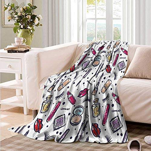 Oncegod Couch Blanket Girls Femininity Themed Makeup Camping Throw,Office wrap 93