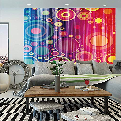 Art Huge Photo Wall Mural,Grunge Inspired Abstract Vivid Circles Forming Artistic Expression Psychedelic Art,Self-Adhesive Large Wallpaper for Home Decor 108x152 inches,Royal Blue Red ()