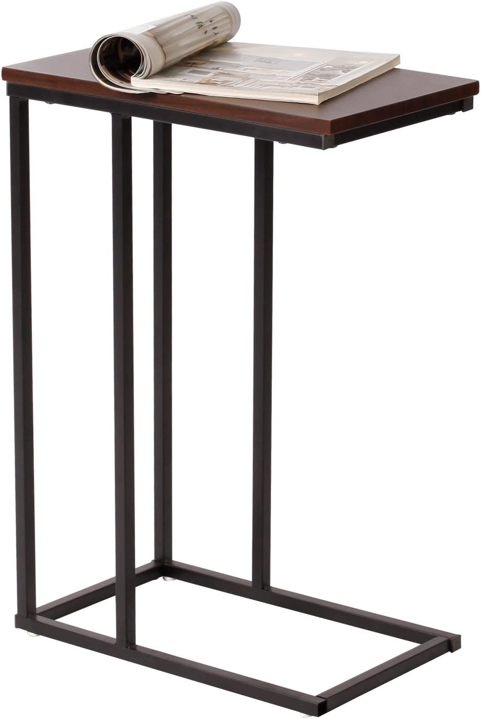 eSituro End Table Sofa Side Table Dark Beech Living Room Coffee Table Laptop Table Bedside Table Nightstand with Metal Frame