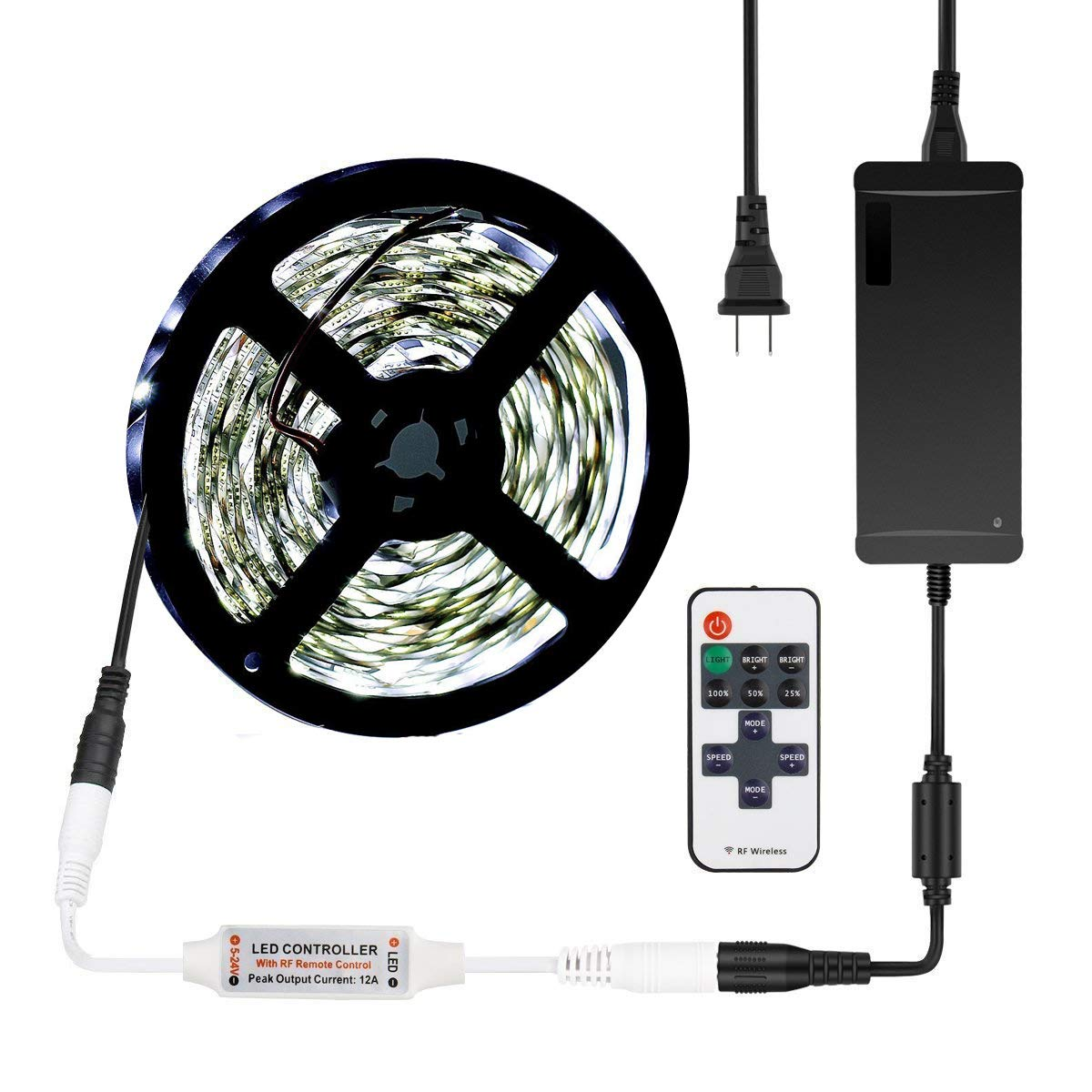 SUEPRNIGHT Cool White LED Strip Light Non-Waterproof, 16.4ft 300leds Rope Lighting with 12V 5A Power Adapter and RF Remote Controller for Bedroom,Car, Party Decoration by SUPERNIGHT