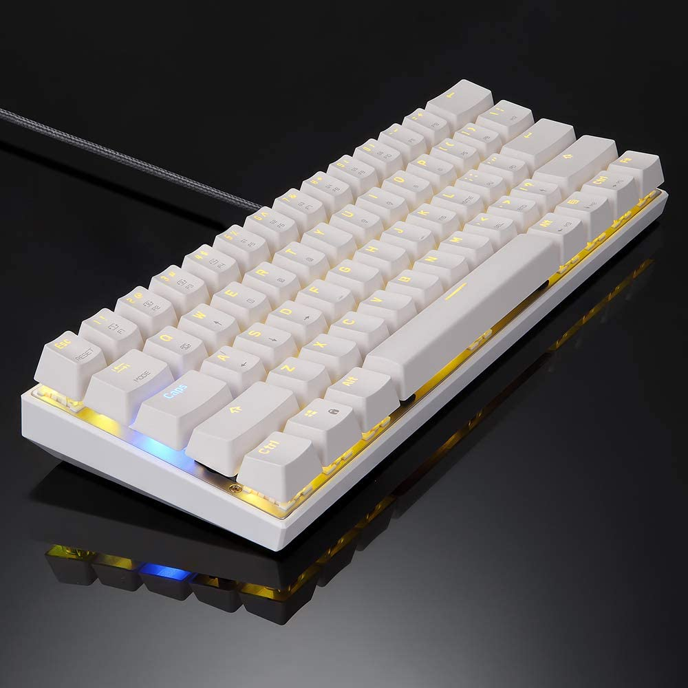 Motospeed CK62, Mini Teclado mecánico inalámbrico con Cable RGB iluminación Gaming Keyboard para PC/Mac/Linux/iPad/iPhone/Smartphone/Laptop