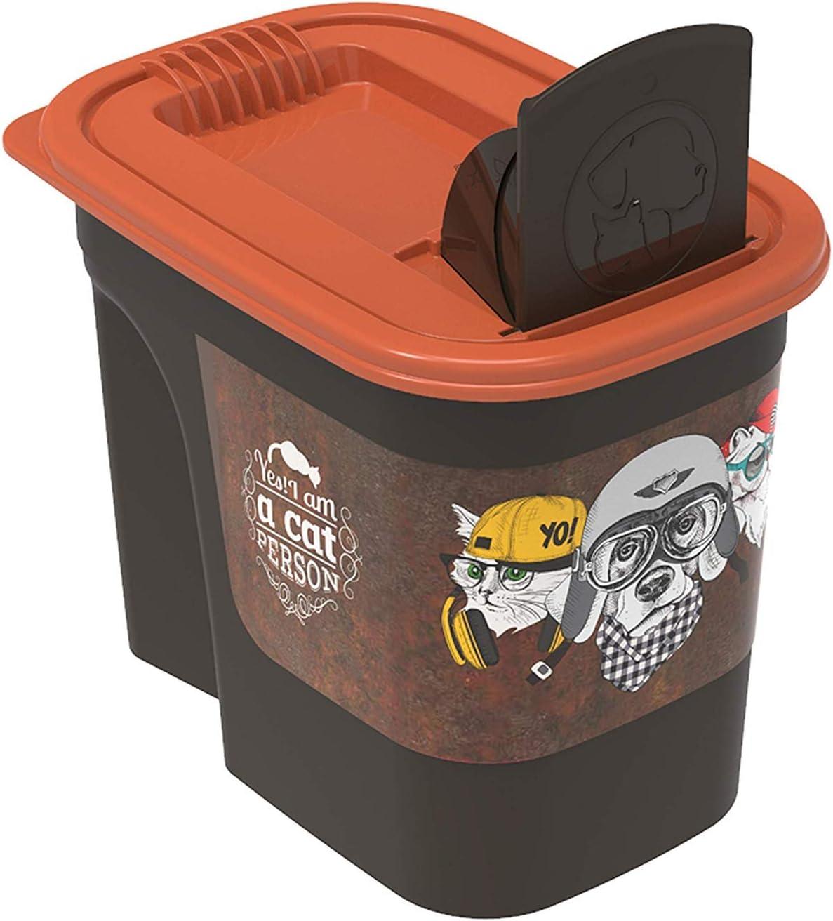 Rotho Flo, Caja de comida para mascotas de 2.2 l con tapa y solapa, Plástico PP sin BPA, marrón, naranja, 2.2l 19.5 x 13.6 x 16.2 cm: Amazon.es: Productos para mascotas