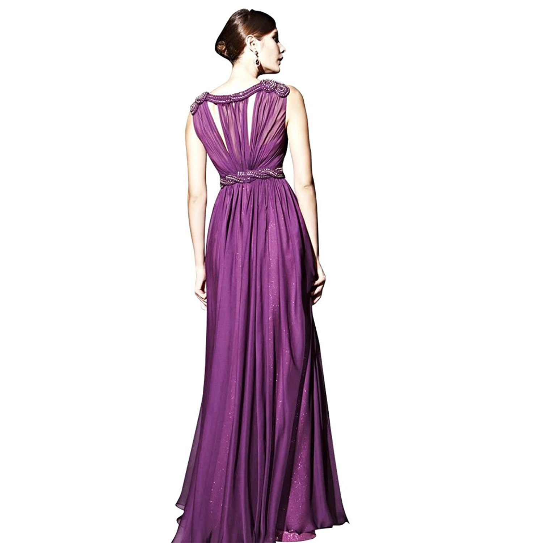 GEORGE BRIDE Sheath/ Column Off Shoulder Floor-Length Purple Chiffon Evening Dress