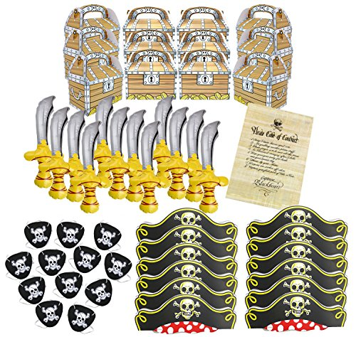 Well Pack Box Pirate Birthday Party Supplies Bundle With Swords, Hats, Eye Patches, Favor Boxes and Authentic Code of Conduct Great for Kids Birthday Parties and Pirate Events