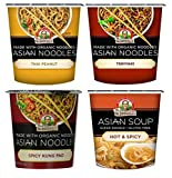 Dr. McDougall's Asian Noodle Cups 4 Flavor Variety Bundle, 1 Ea: Thai Peanut, Hot & Spicy, Spicy Kung Pao, and Teriyaki, 1-2 oz.