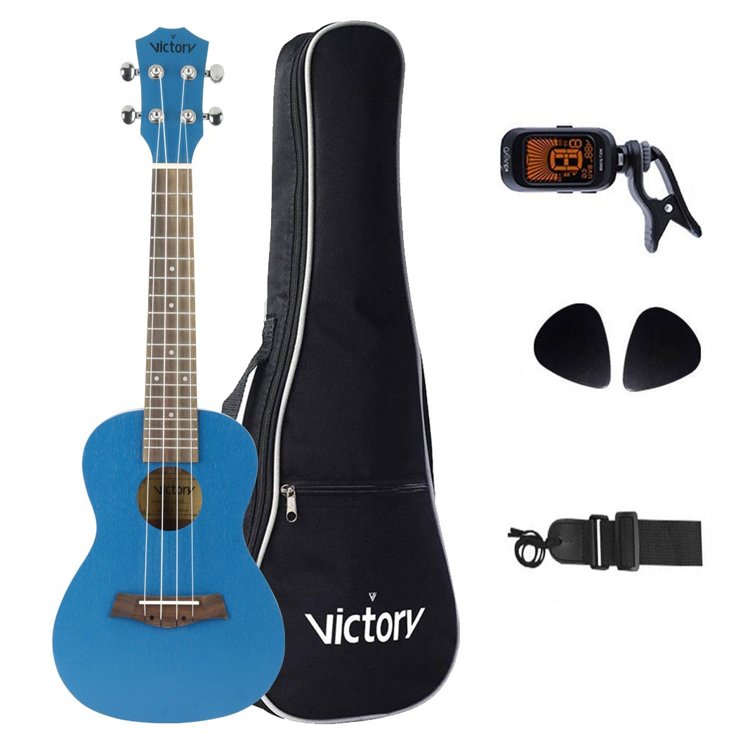LULALA Deluxe 23' Concert Ukulele Set All Mahogany Aquila String Kit for Bag, Strap, Picks and Clip On Tuner- (Good Choice for Starter) VI VICTORY LUK-004C