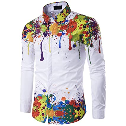 YYDD Mens Long Sleeve Shirt Shoulder Hem Splash Ink 3D Printing Slim Shirt Fashion Casual Buttoned