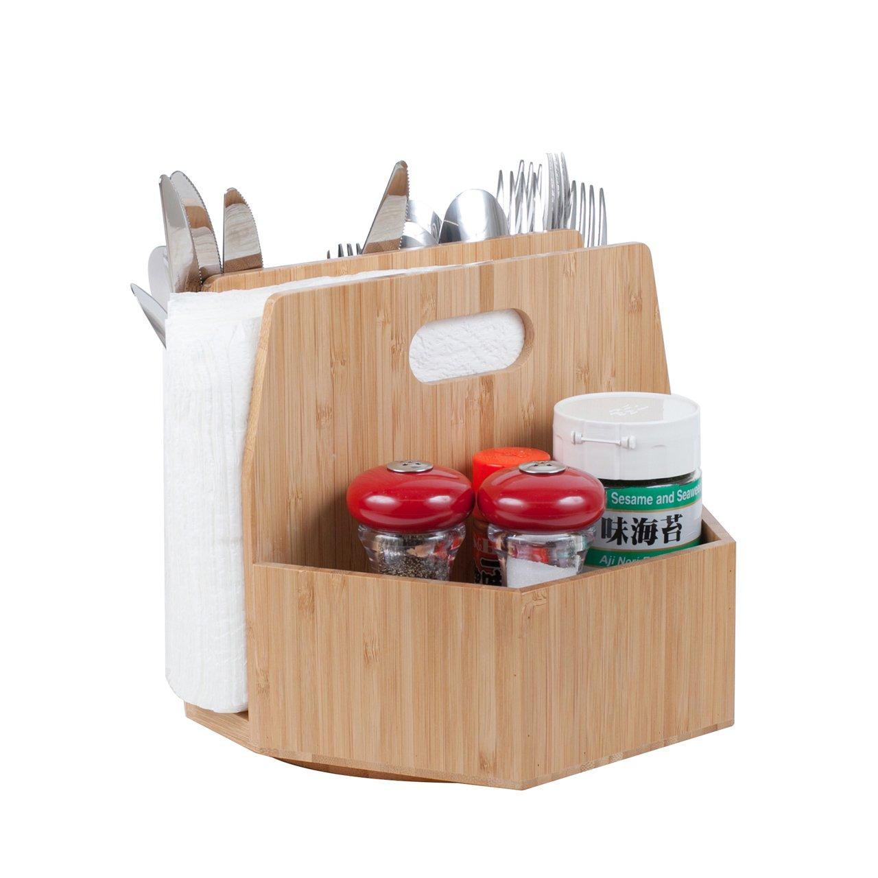 Bamboo Rotating Utensil Holder Portable Silverware Caddy, Condiment, Dining & Kitchen Organizer, Makeup Holder, Desktop, Classroom Supplies Organizer