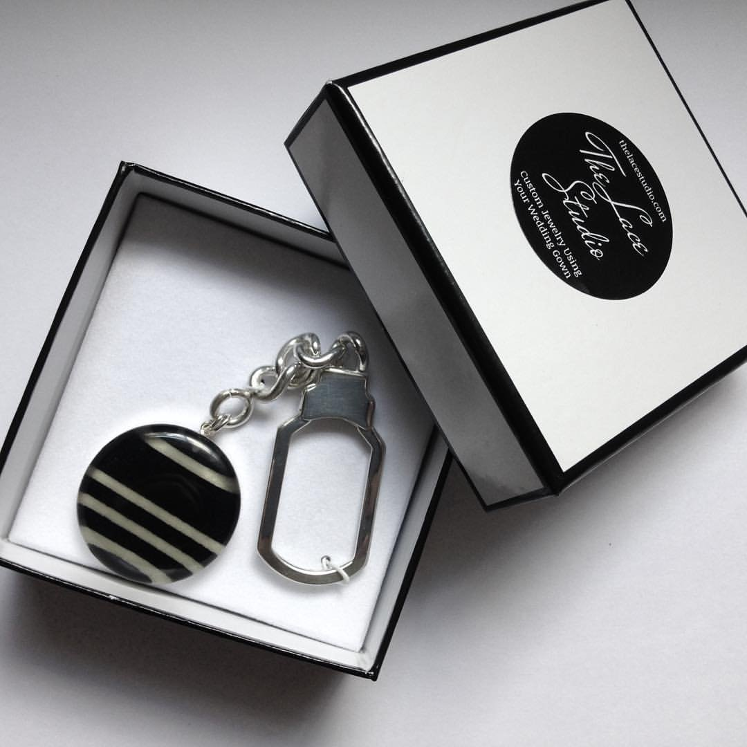 Custom Keychain: Sterling Silver made with YOUR material / Wedding Dress, Baby Blanket, Old Shirt by The Lace Studio