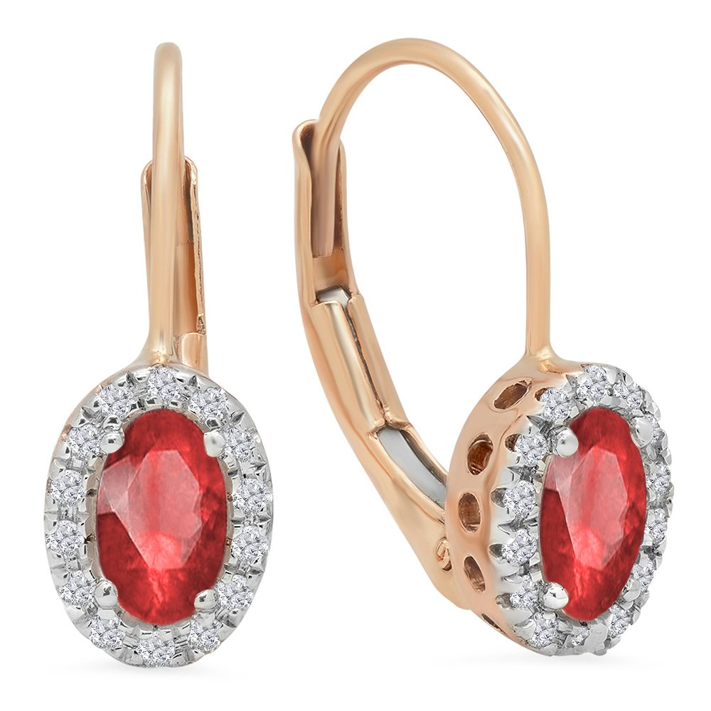 14K Rose Gold Oval Cut Ruby & Round Cut White Diamond Ladies Halo Style Hoop Earrings