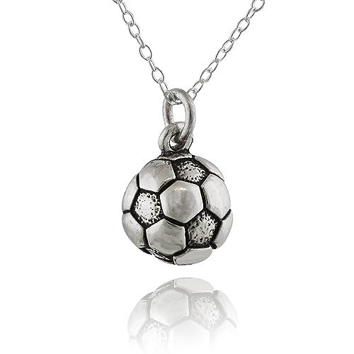 Plata de Ley Pequeño Balón de fútbol encanto colgante, cadena de ...