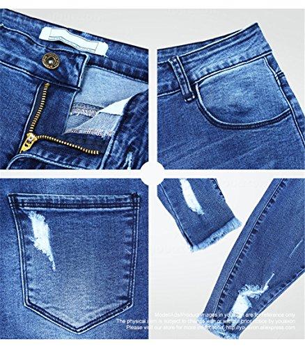 Jeans jeans donne le Pantaloni fiocco blu Skinny matita Blu una Estendibili Jeans Pantaloni donna per strappati vYxCREnfEq