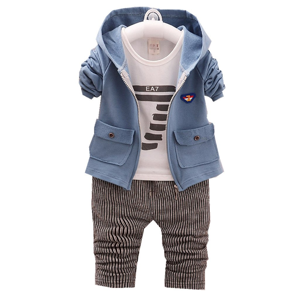 FTSUCQ Boys Long Sleeve Shirt Top + Pants + Hoodies Coat,Blue 70