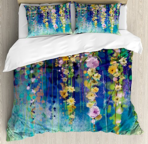 Ambesonne Watercolor Flower Duvet Cover Set Queen Size, Vines Flowers in Soft Colors Summer Garden Watercolor Artwork, Decorative 3 Piece Bedding Set with 2 Pillow Shams, Indigo Mustard Green from Ambesonne
