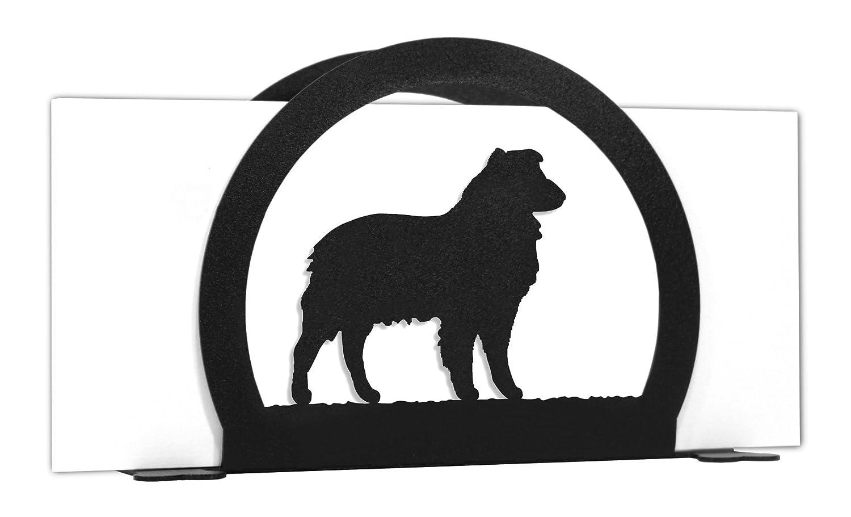 SWEN Products AUSTRALIAN SHEPHERD Dog Black Metal Business Card Holder