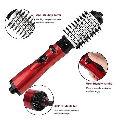 Cepillo rotativo de aire caliente, 2-en-1 3 velocidad multiFuncional negativo de
