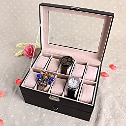Surepromise 20 Grid Slot Bracelet Watch Jewellery Display Boxes Black PU Leather Glass Top Travel Case Carry Set Gift
