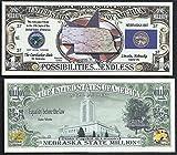 Nebraska State Educational Million Dollar Bill W Map, Seal, Flag, Capitol - Lot of 100 Bills