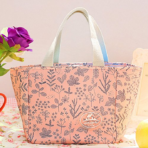 (Jessie storee Cold Insulation Lunch Bag Pink Leaves Waterproof Cooler Oxford Cloth Bento Box Portable Oil-Proof Rice Meal Rice Bag Tote Box for Boys Picnic Hiking Beach Fishing)