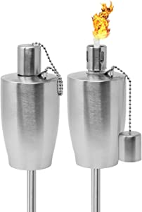 Matney Stainless Steel Torches – 5 ft Outdoor Oil Torch Lamp for Citronella - Garden, Lawn, Backyard Parties – Includes Fiberglass Wick and Snuffer Cap- Set of 2 (Silver Torch Set – Barrel)