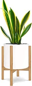 Honest Mid Century Modern Bamboo Indoor Plant Stand,(Plant and Pot NOT Included) Rustic Wood Flower Pot Holder, (Fits Pots:8