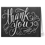 Handlettered Thank You - 36 Chalkboard Thank You Note Cards - Blank Cards - Kraft Envelopes Included