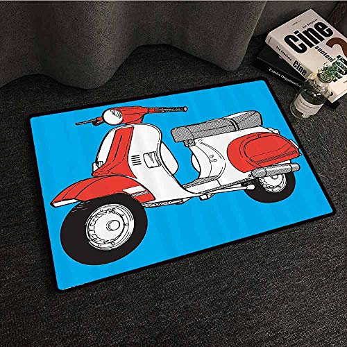 Funky Decor Fashion Door mat Cute Scooter Motorcycle Retro Vintage Vespa Soho Wheels Rome Graphic Print All Season General W35 xL59 Blue Red White