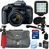 Canon EOS Rebel T7i DSLR Video Kit with 18-55mm Lens, Video Shot Gun Mic, Video Rechargeable LED Light and 32GB SD Card Class 10 And Much More