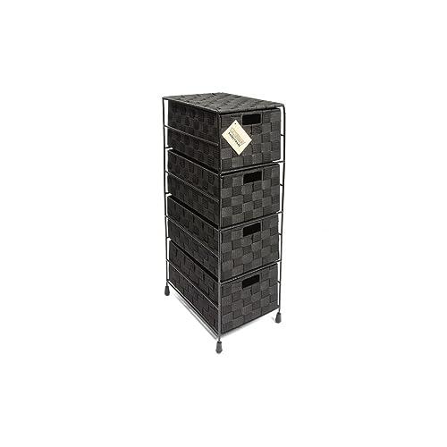 EHC 4-Drawer Storage Cabinet Unit for Bedroom/Bathroom, Black
