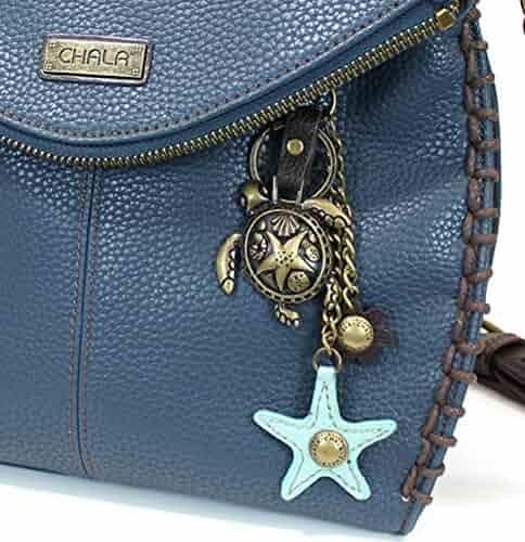 b315221098 Chala Charming Crossbody Bag - Flap Top and Metal Key Charm in Navy Blue