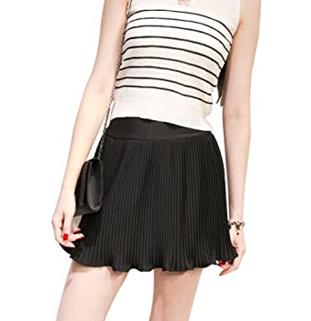 0c0b558619 Chiffon Short Skirt Fashion Midi Skirt BLACK, One Size (Asian Size ...