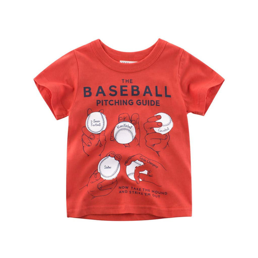 Toddler Teen Baby Boy T-Shirt, One Piece Short Sleeve Baseball Print Top 18M-6Y,Simple Style Fashion for Kid