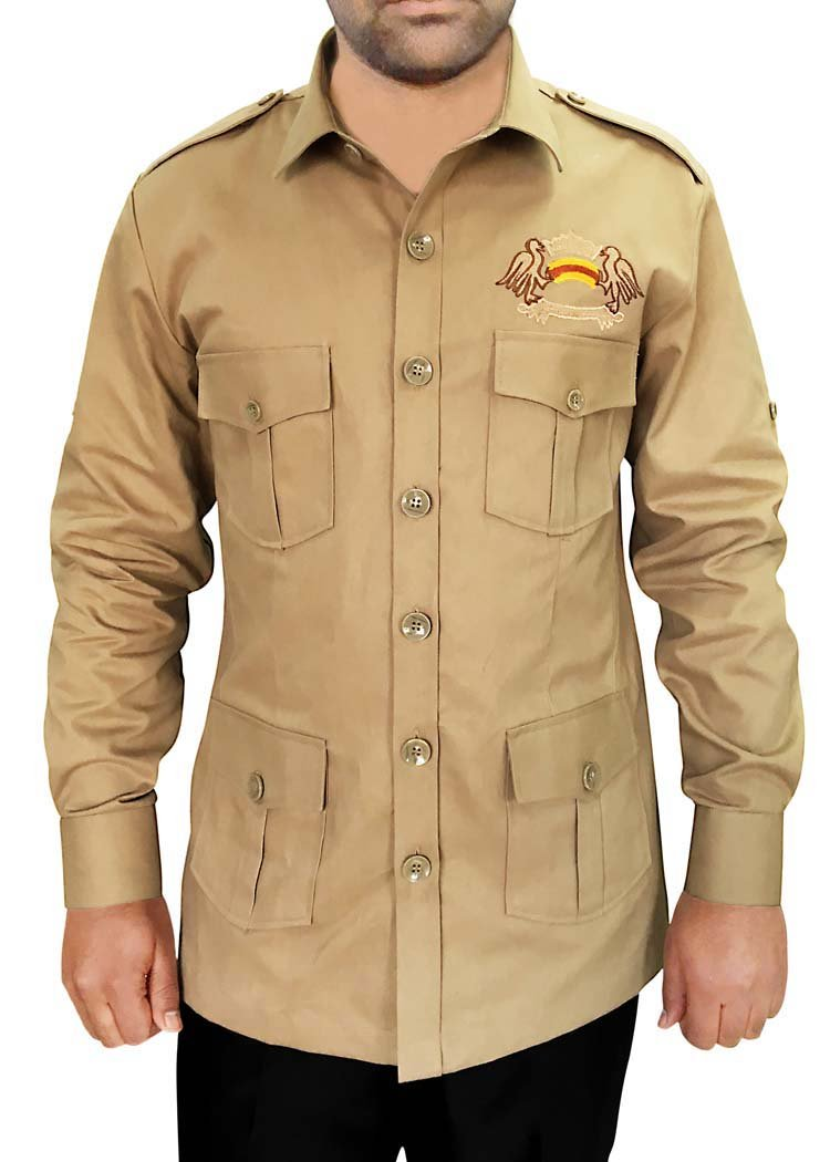 INMONARCH Safari With 4 Pockets Khaki Cotton Bush Shirts HS109LARGE L (Large) Khakhi
