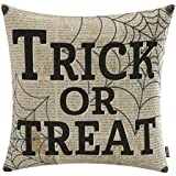 TRENDIN 18x18 Vintage Black Happy Halloween Spider web Trick or Treat Linen Cushion Cover Throw Pillow Case Sofa Decorative(PL064TR)