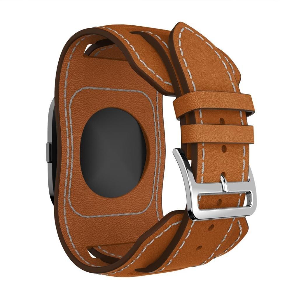 UnparaレザーWristbands for Fitbit Versaスマートウォッチバンドスタイル交換用ストラップ  ブラウン B07C9DPWW2