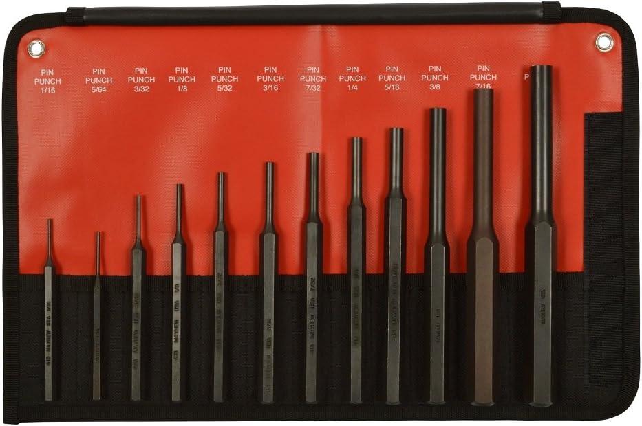 Mayhew Tools 62078 12-Piece Hardened Steel Pin Punch Set - -