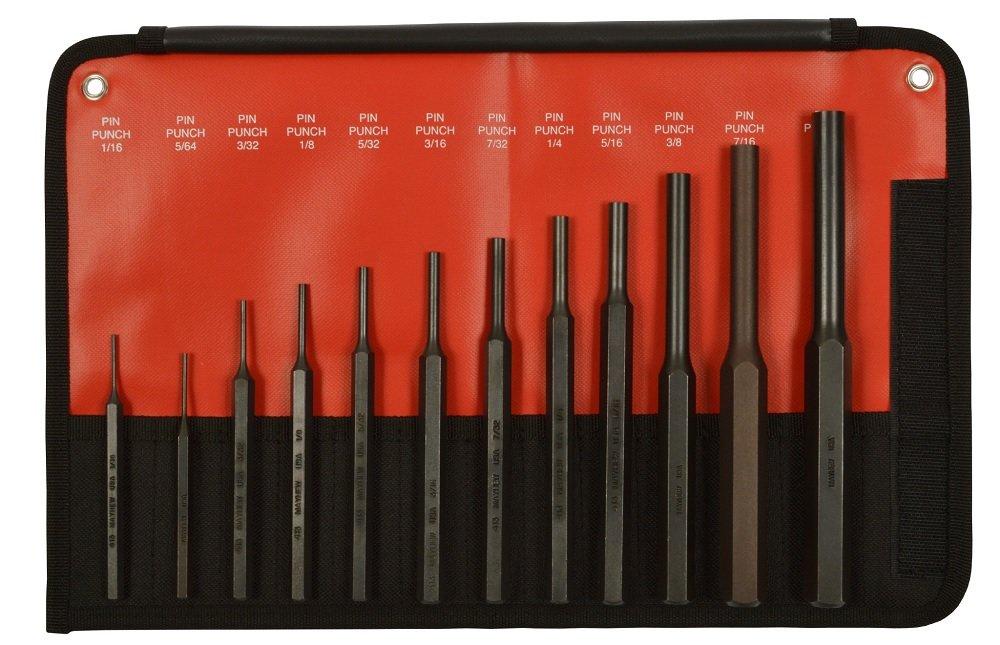 Mayhew 62078 12-Piece Hardened Steel Pin Punch Set