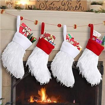 Lomohoo Medias de Navidad Personalizadas Decoracions Vajilla Pequeña Bolsa de Regalo Bolsa de Dulces Calcetines Navidad para Colgar para Decoraciones de ...