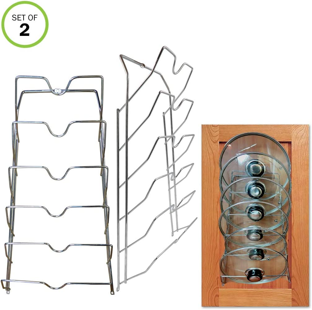 Evelots Pot Lid Storage-Cabinet Door/Wall-Organizer-12 Pot/Pan Covers-Set of 2