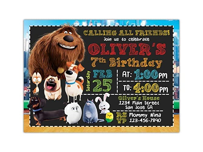 Celebrations & Occasions Personalised The Secret Life of Pets Birthday Party Invitation inc envelopes