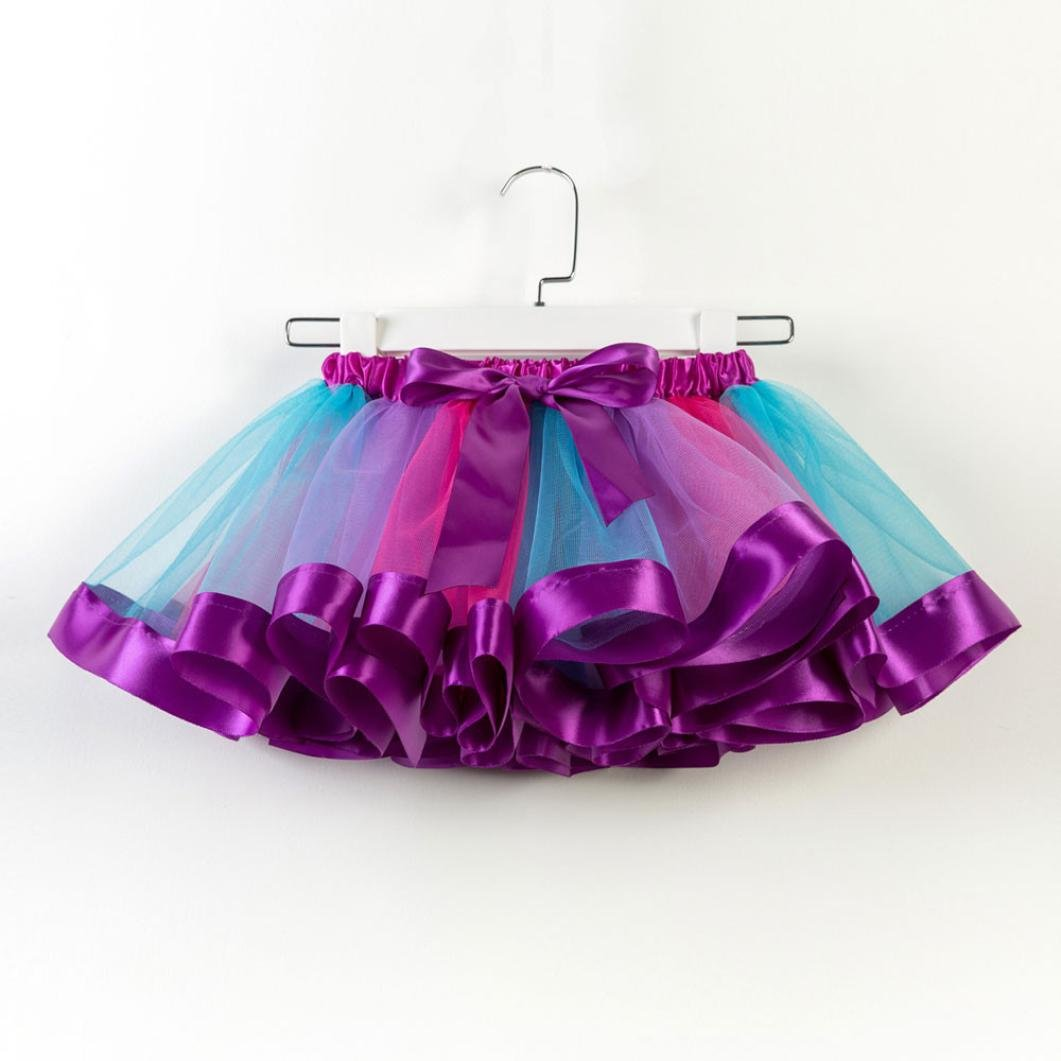 Fashion Kids Girls Tutu Tulle Party Dance Ballet Skirt Toddler Baby Rainbow Costume Skirt Xshuai for 2-11 Years Old Kids