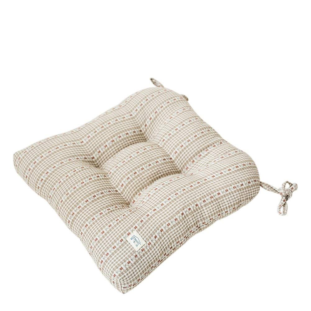Ace Dzdd Tatami Floor Futon Chair Pads Soft Fluffy Thick Pure Cotton Chair Cushion Dining Chair Mat with Ties- (Color : Beige) by Ace Dzdd