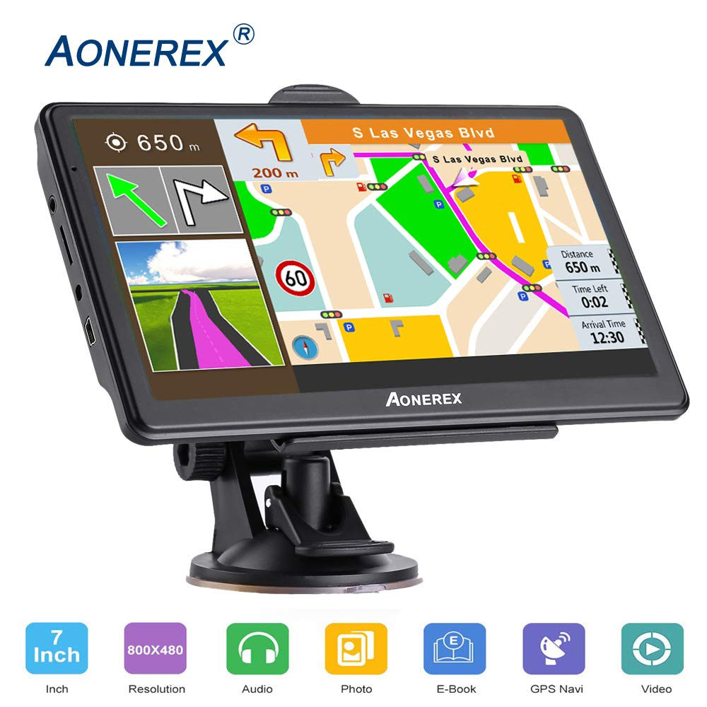 GPS Navigation for Cars,7-inch HD Touch Screen, Built-in 8GB Real Voice Turn Alarm, Satellite Navigation, Free Lifetime map by Aonerex