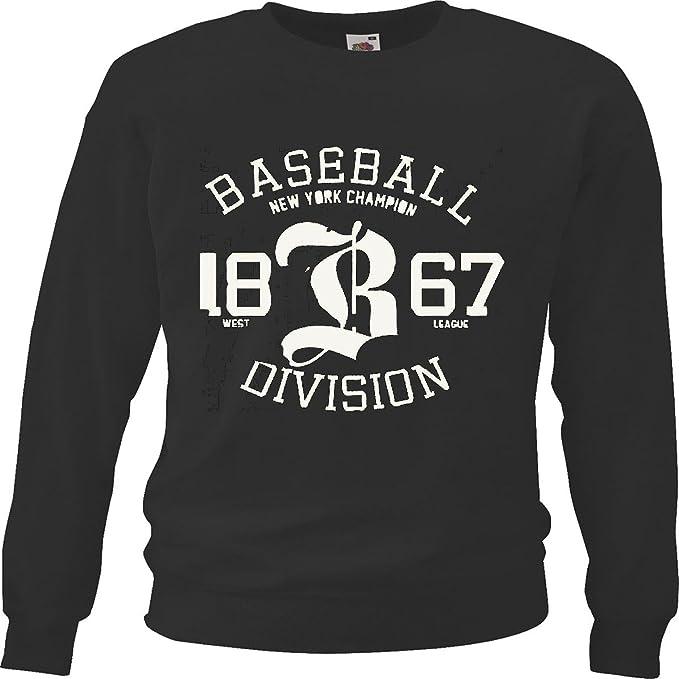 Sudaderas Suéter BÉISBOL New York Champion Ligas 1867 Oeste de la Liga de béisbol Bate de béisbol Jugador de béisbol Camiseta béisbol Equipo in Negro: ...