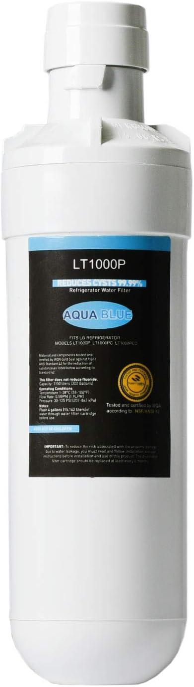 kompatibel mit LG LT1000P MDJ64844601 Aqua Blue LT1000P Ersatz-K/ühlschrank-Wasserfilter ADQ74793501 NSF-zertifiziert