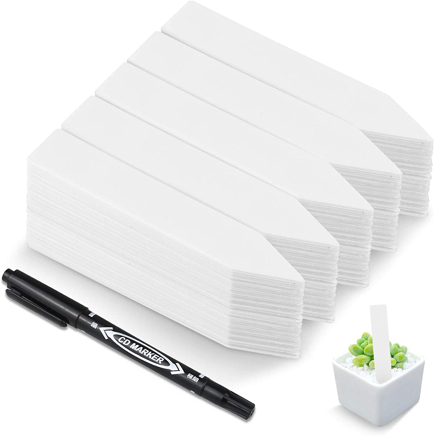 """HOMENOTE 200 Pcs 4"""" Plastic Plant Labels Waterproof Plant Tags for Seedling, Vegetable Gardening Tags with Permanet Marking Pen, White"""